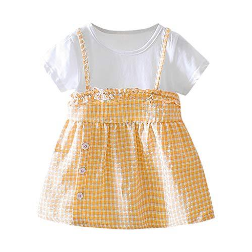 Julhold Baby Meisjes Zomer Mode Ademende Korte Mouw Plaid Print Ruches Prinses Katoen Jurk Kleding 0-2Jaar