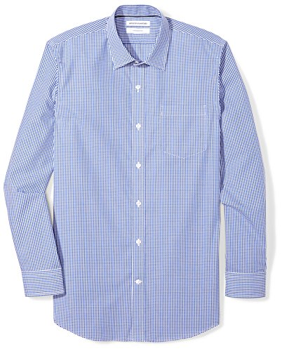 "Amazon Essentials Men's Slim-Fit Wrinkle-Resistant Long-Sleeve Dress Shirt, Blue Gingham Plaid, 15.5"" Neck 32""-33"" Sleeve"