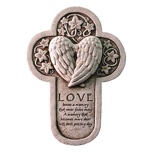 Carruth Studio, Love Leaves a Memory Plaque, Original Sculpture Handcrafted in Stone, Artisan Made