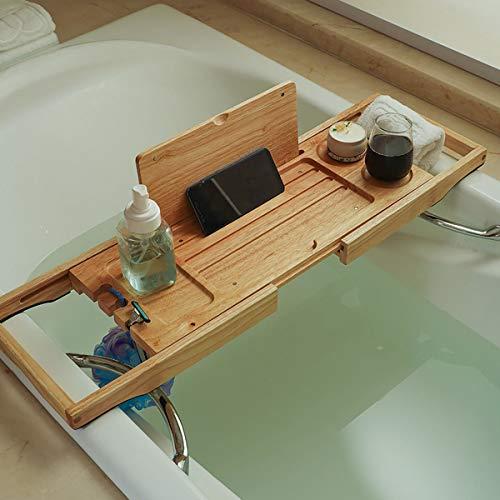 KINGEE Bathtub Tray Expandable, Bathtub Caddy Tray for Luxury Bath, Bathtub Shelf Table with Soap Box, Bath Towel Holder, Wine Glass Holder, Reading Rack, Tablet Holder, Phone Tray Etc,Rubber wood