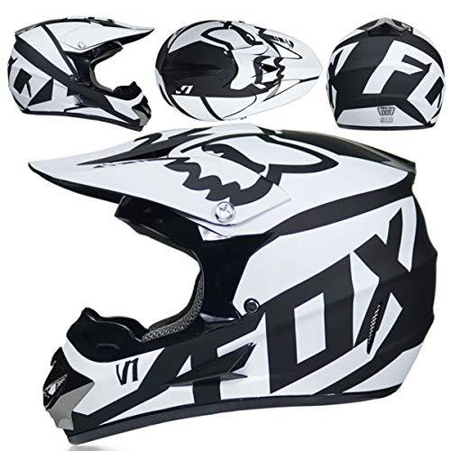 Casco Motocross Niño 5~12 Años ECE Homologado Casco Moto Integral Unisex para Moto De Cross Descenso Enduro MTB Quad BMX Bicicleta (Gafas+Máscara+Guantes) con Diseño Fox - NNYY-01 - Negro Blanco,XL