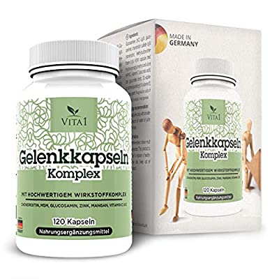 VITA1 Gelenkkapseln • 120 Kapseln (Monatspackung) • Chondroitin, MSM, Glucosamin, Zink, Mangan & Vitamin C • Hergestellt in Deutschland