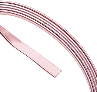 Artistic Wire, Flat Craft Wire 3mm 21 Gauge Thick, 3 Foot Coil, Rose Gold Color