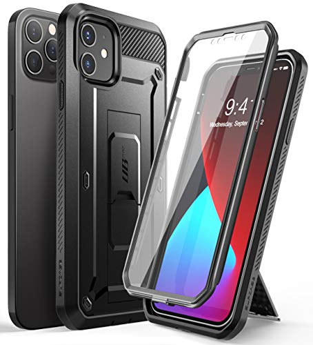 SupCase Unicorn Beetle Pro Series Case for iPhone 12 / iPhone 12 Pro (2020 Release) 6.1 Inch, Built-in Screen Protector Full-Body Rugged Holster Case (Black)