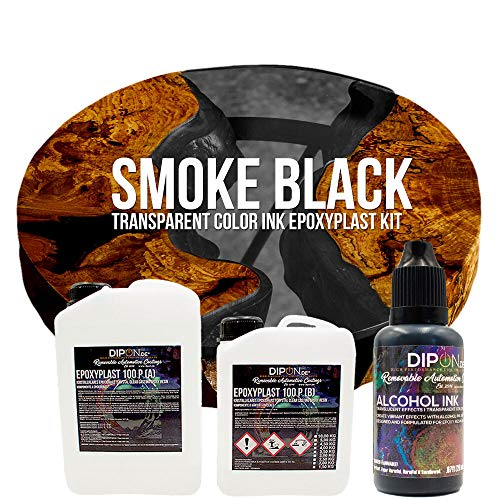EpoxyPlast 100 P Smoke Black Alcohol Ink Kit Set - Epoxidharz Transparent gefärbt für Holz Tisch Metal Beton Gießen Bodenbeschichtung Garage Laminierharz Epoxydharz Farb Effekt Gießharz