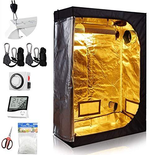 cdmall ALPHAPAR Grow Tent Room Complete Kit 48'x24'x60' Kit Hydroponic Growing System Indoor Plants Growing Dark Room + Five Hydroponics Growing Setup Accessories (48'x24'x60' Kit)