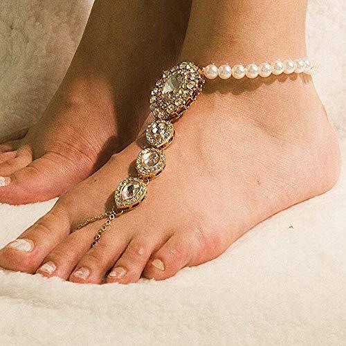 Anglacesmade Boheemse Parel Kristallen Enkel met Teen Ring Strand Bruiloft Strass Barefoot Sandalen Boho Enkel Armband voor Vrouwen en Meisjes Goud
