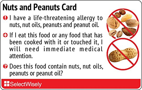 Nuts and Peanut Allergy Translation Card - Translated in Italian or Any of 67...