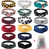 16 Pcs Boho Headbands for Women, EAONE Fashion Headbands Floral Bandeau Headbands Elastic Hair Bands Criss Cross Twisted Head Wrap with 1PC Pouch Bag - Pattern 1
