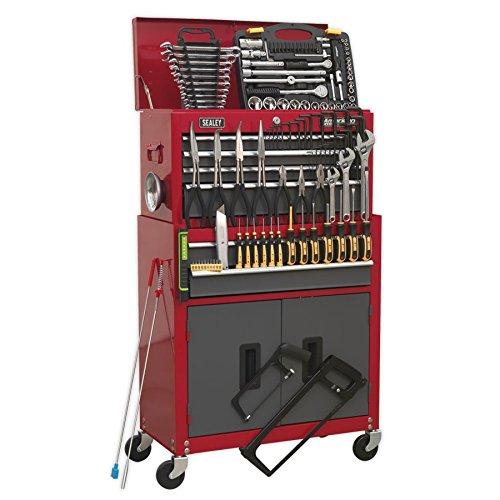 Sealey AP2200BBCOMBO Combinazione di arrello Porta Attrezzi e Cassetta per Attrezzi da Officina, con 6cassetti con Cuscinetti, Colori:Rosso/Grigio, con 128 Pezzi di Attrezzi Inclusi