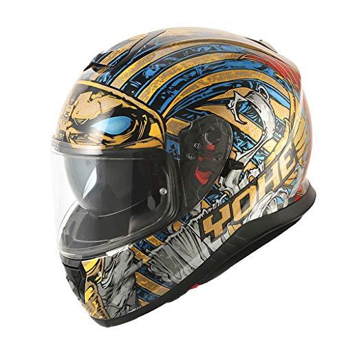 HJL Casco de la Motocicleta Hombres y Mujeres Personalidad Casco Compl