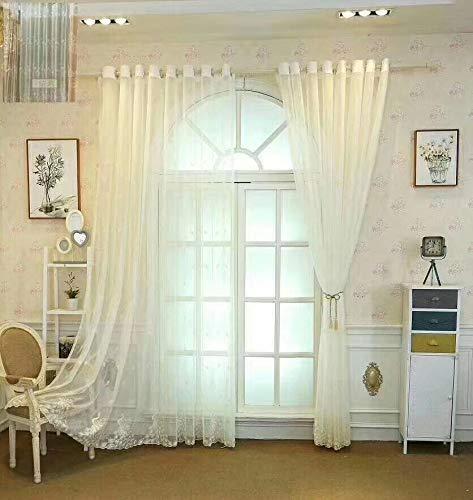 Lactraum Rideau de salon avec œillets - Blanc transparent - Paon brodé - 145 x 245 cm