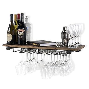 Rustic State Wall Mounted Reclaimed Wood Floating Shelf Wine Rack with Stemware Holder Walnut