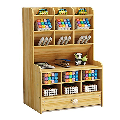 Wooden Desk Organizer with Drawer, Large Capacity DIY Pen Holder Storage Box Desktop Stationary Storage Rack, Pen Organizer Caddies for Office, Home and School Supplies (B16-Cherry Color)