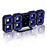 EAAGD Electronic LED Digital Alarm Clock [Upgrade Version] , Clock Can Adjust The LED Brightness Automatically in Night (Black/Blue)