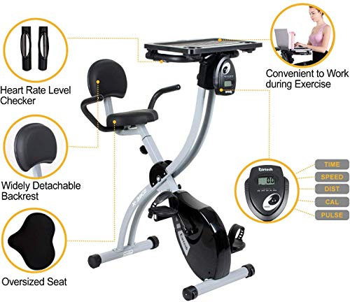 Hadwin F Bike Folding Exercise Bike Exercise Machine Fitness Cardio Workout with Adjustable Seat Height, Desktop, 8 Level Magnetic Resistance,LCD Moni