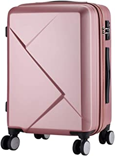 SMLCTY Lightweight Hard Shell Carry On Hand Cabin Luggage Travel Spinner Suitcase with 4 Wheels,360 ° Universal Wheel Boarding Chassis (Color : Pink, Size : 20 inch)