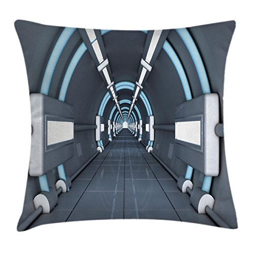 """Ambesonne Outer Space Throw Pillow Cushion Cover, Inner View of Rocket Structure Cyber Hallway Trip to The Dark Matter, Decorative Square Accent Pillow Case, 24"""" X 24"""", Grey Blue"""