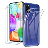 ILUXUS Klar Silikon Hülle für Samsung Galaxy A41 handyHülle mit Panzerglas, Galaxy A41 handyHülle transparent Ultra Silikon Bumper Cover TPU Ultra Slim Schutzhülle für Galaxy A41 Schutzfolie