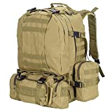 AW 55L 600D Tactical Army Rucksacks Molle Backpack Camping Outdoor Hiking Trekking Traveling Bag Mud Color