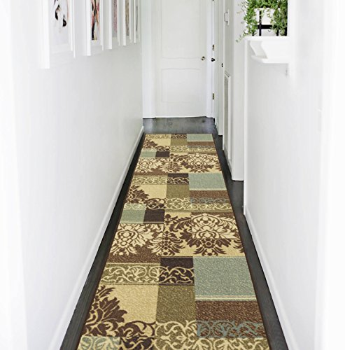 "Ottomanson Ottohome Collection Contemporary Damask Design Non-Skid Rubber Backing Hallway Runner Rug, 2'7"" X 9'10'', Brown"