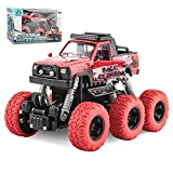 Pull Back Cars Couquin Push Car for Toddlers Monster Trucks for Boys, Kids Trucks Vehicles Inertia Car Back Toy Car, Friction Powered Cars for Toddlers Boys Girls (Red)