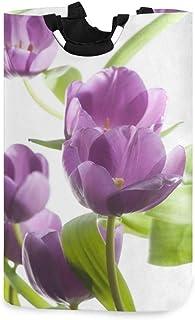 N\A Belles Tulipes Violettes Panier à Linge Panier à vêtements Pliable Durable vêtements Sales Grand Rangement Organisateu...
