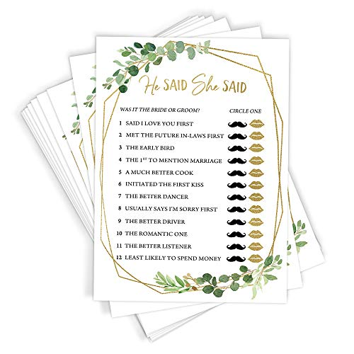 He Said She Said Bridal Shower Game, Set of 50 Cards, Gold Greenery Activity, Fun, Unique and Easy to Play