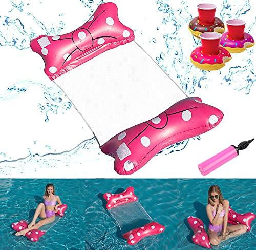 Hamaca Inflable,Hamaca de Agua 4 en 1 Piscina Tumbona Hamaca Inflable de Agua Flotante colchoneta Piscina con Soporte Hinchable para Bebidas+Bomba de Aire (Red)