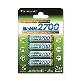 Panasonic BK-3HGAE/4BE - Pilas AA NI-MH 2700 recargables de gran...