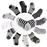 Cubaco Kids Toddler Boys Socks 3T 4T 5T, 12 Pairs Non Skid Anti Slip Cotton Grip Socks(3-5 Years)