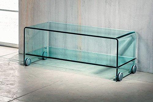 IMAGO FACTORY Flix - Porta TV - Ponte in Vetro curvato con ripiano e Ruote