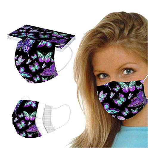 ZLUU 100PC Unisex Adult Stylish Pattern Disposable Masquess for Coronàvịrụs Protectịon 3 Ply Non-woven Protective Mouth-Coverages Elastic Earloop Dustproof Windproof