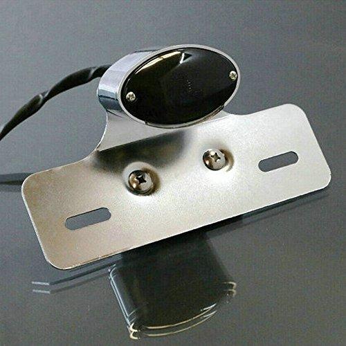 Heinmo Feu arrière double œil de chat pour moto - Support de plaque d'immatriculation arrière - Noir - Feu de freinage - Clignotant (lentille noire et argentée)