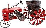Brubaker Vintage Traktor zum Bepflanzen mit Windspiel - 23 x 28 x 48 cm - mit 2 Windrädern und Pflanztopf - Metall wetterfest - Handbemalt mit Antik Effekt - Rot