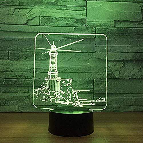Creativo Faro Modelo 3D Luz de Noche Led Usb7 Cambio de Color Niño Bebé Sueño Iluminación Táctil Base Lámpara de Mesa Como Regalo de Navidad