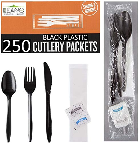 250 Plastic Cutlery Packets - Knife Fork Spoon Napkin Salt Pepper Sets  Black Plastic Silverware Sets Individually Wrapped Cutlery Kits Bulk Plastic Utensil Cutlery Set Disposable To Go Silverware