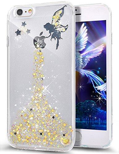 ikasus Coque iPhone 6S/iPhone 6 Etui Bling Glitter Sparkle Brillant Étoile l'ange Fille Star Angel girl Transparente Silicone Gel TPU Souple Housse Etui Coque pour iPhone 6S/6,Jaune