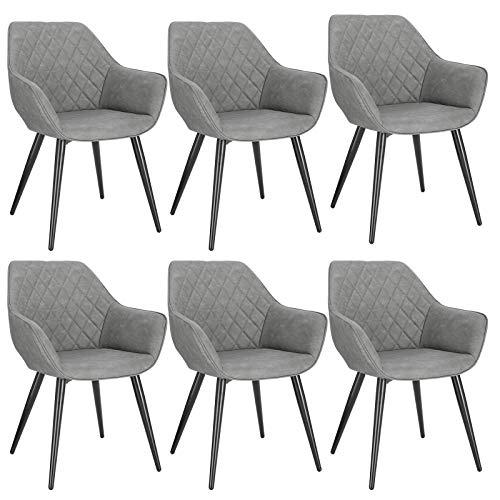 WOLTU BH251gr-6 6X Esszimmerstühle Wohnzimmerstuhl Polsterstuhl Designstuhl Küchenstuhl mit Armlehne und Rückenlehne Sitzfläche aus Kunstleder Gestell aus Stahl Grau