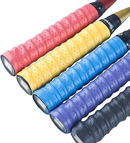 Febbya Tenis Grip, Raqueta Grip 5 Pack Anti Slip Perforado Overgrip Multicolor para Tenis Bádminton Squash Racketball Raqueta y caña de Pescar