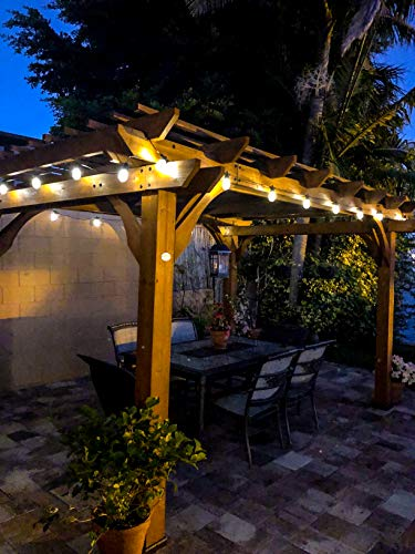 Brightech Ambience Pro - Waterproof, Solar Powered Outdoor String Lights - 48 Ft Vintage Edison Bulbs Create Bistro Ambience On Your Patio - Commercial Grade, Shatterproof - 1W LED, Warm White Light