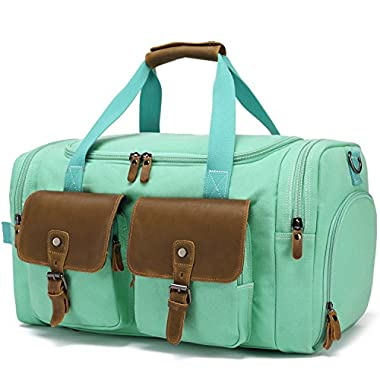 BLUBOON Weekender Duffle Bag Canvas Overnight Travel Duffel with Shoe Compartment for Women Leather Carry on Luggage Travel Tote Bag (Mint Green)