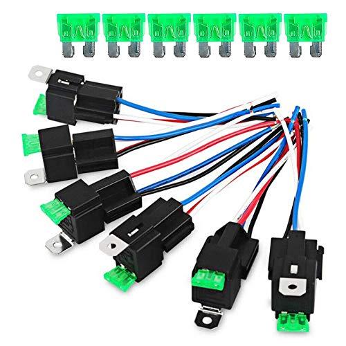 Juego de 6 cables de relé de 12 V 30 A SPST de 5 pines con enchufe y arnés de cables con etiqueta de color para coche, camión, moto y barco