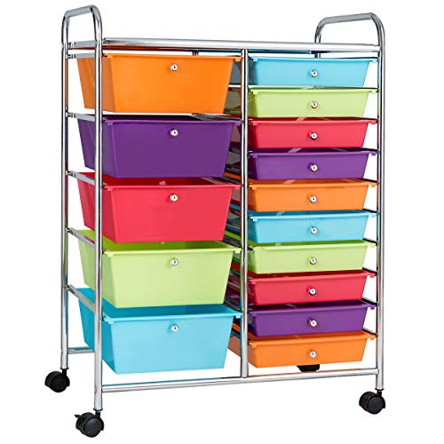 Giantex 15-Drawer Organizer Cart Office School Storage Cart Rolling Drawer Cart for Tools, Scrapbook, Paper (Multicolor)