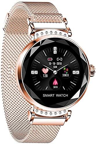 Reloj inteligente para mujer IP67 impermeable podómetro reloj para correr multideportes, modo de medición de calorías Fitness Tracker-oro rosa