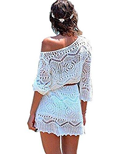 Minetom Damen Sexy Boho Spitze Crochet Kleid One-Shoulder Hohle Bikini Cover Up Trägerlosen Jacquard Pareos Tunika Strandkleider Weiß DE 38