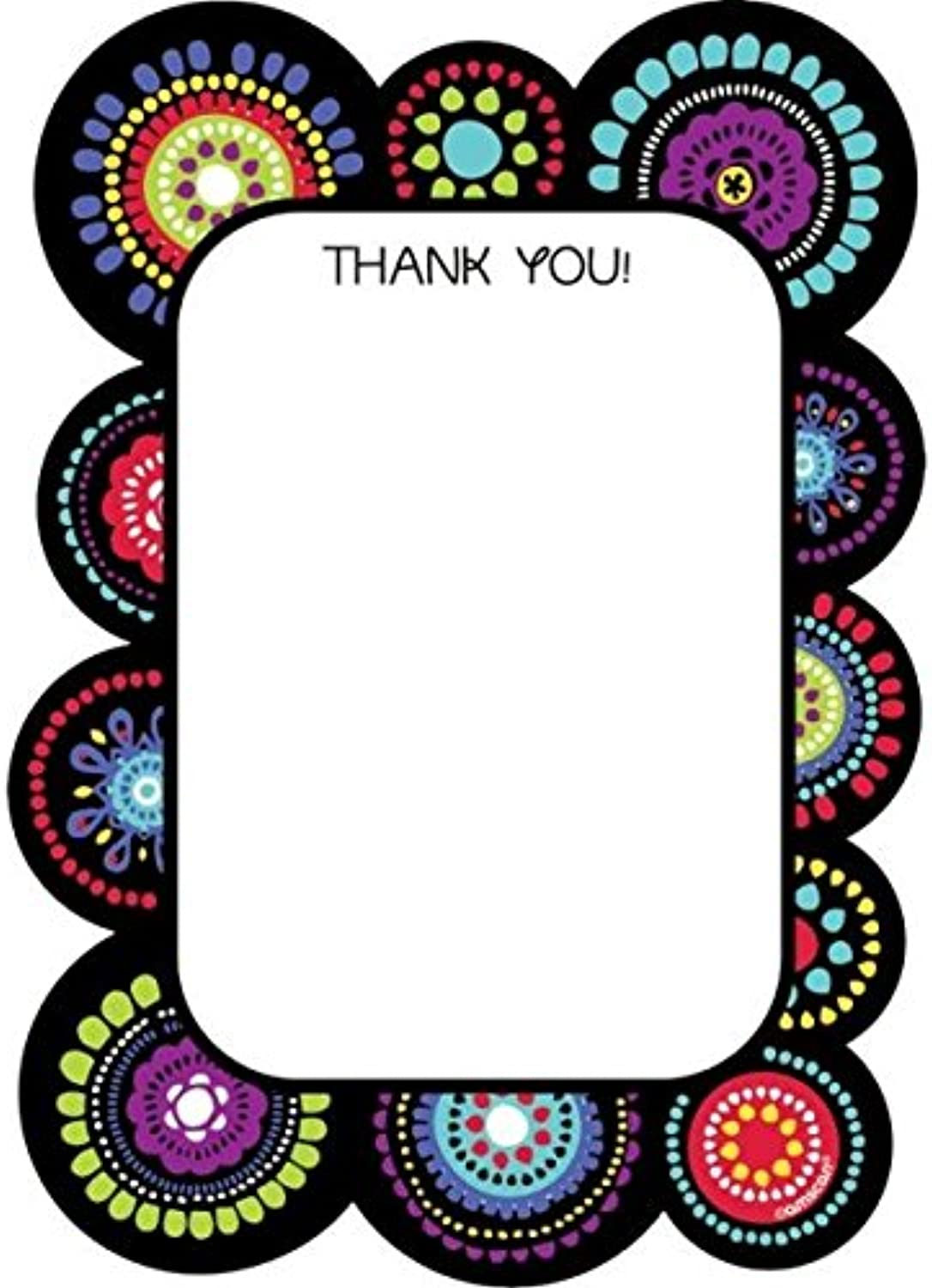 Amscan Trendy Graphic Fun Thank You Notes Set (40 Piece), Multicolor, 5 1 2  x 4