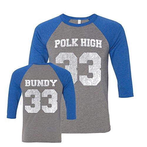 Donkey Tees Polk High School Football Jersey Raglan XX-Large Gray/Royal