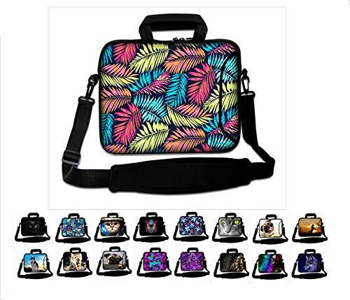 """17""""- 17,3"""" Zoll Neopren Tablet Laptop Tasche mit Griff und Tragetasche Schutzhaut Notebooktasche mit Zubehörfach und Schultergurt Aktentasche Multi-Color von Funky Planet Bags Cases"""