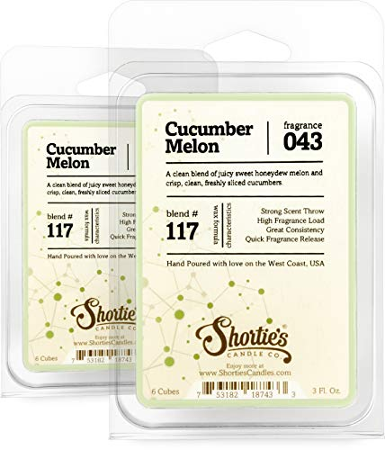 Shortie's Candle Company Cucumber Melon Wax Melts Multi Pack - Formula 117-2 Highly Scented Bars - Made with Natural Oils - Fresh & Clean Air Freshener Cubes Collection
